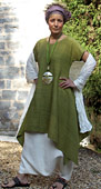 LIME GREEN RAW SILK TUNIC with
