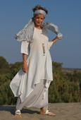 White cotton veil tunic, ice blue linen sarouel skirt