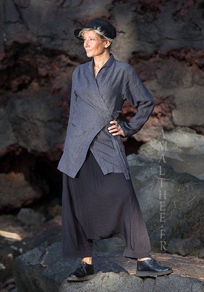 Women fashionable slate grey linen  outfit
