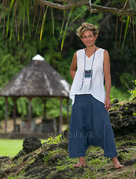 Women's sumer time apparel:  white linen gauze little Top and sarouel pants