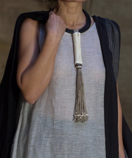 statment necklace: ostrich bone build on rubber and linen