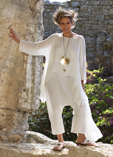 loose fit top made of white silk veil 