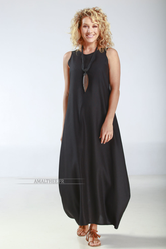 Robe Olga en lin noir Robes