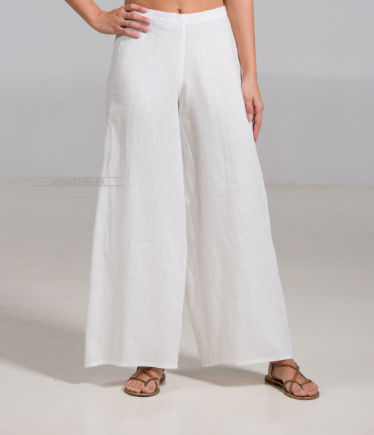 Pantalon large Baba en lin blanc cassé [category]