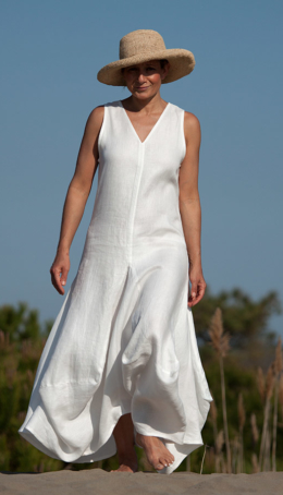 white linen Moon dress Robes