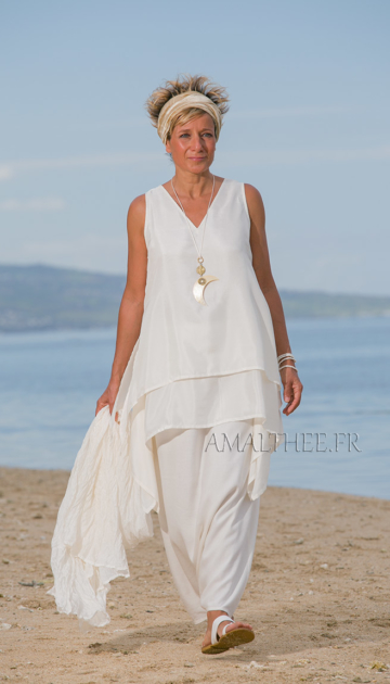 Tunique courte déstructurée en soie naturelle for a casual wedding or a hot summer party Looks